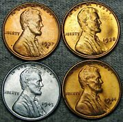 1937-s 1938 1943 1944-s Lincoln Cent Wheat Penny Gem Bu++ Condition N354