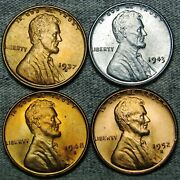 1937-s 1943 1948-s 1952-s Lincoln Cent Wheat Penny Gem Bu++ Condition N355
