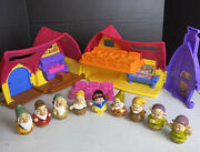 Disney Fisher Price Little People Snow White Cottage With 7 Dwarfs Figures Set
