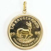 Krugerrand 1/4oz Coin 22k Yellow Gold 18k Pendant Top Free Shipping Used