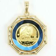 Isle Of Man Cat 1/10oz Coin Gold Blueglit Pendant Top Free Shipping Used