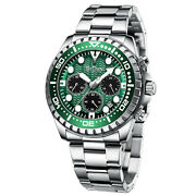 Mens Watches Chronograph Silver Stainless Steel Date Green Analog Quartz Watch