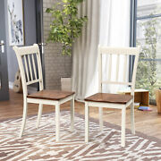 2pcs Wood Dining Chair High Back Home Room Side Chair Bar Kitchen Ivory White