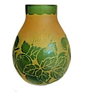 1920s Degue Art Deco French Cameo Etched Glass Vase Green And Yellow 5.5 Tall