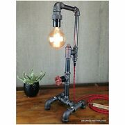 Rustic Industrial Steampunk Table Lamp Retro Vintage Iron Pipes Base Knob Switch