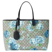 Gg Blooms Reversible Blue Flower Leather Large Shopper Tote Purse B1136
