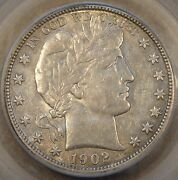 1902-o Barber Half Dollar 50c Certified Au-55 Coin Is A Couple Of Shades