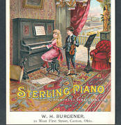 Sterling Piano 1800's Factory View Canton Oh Violin Music Victorian Trade Card