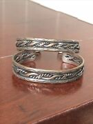 Pair Vintage Native American Navajo Cable Sterling Silver Cuff Bracelets
