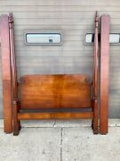 Vintage Full Size Cherry Carved Poster Bed Pristine Condition