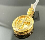 22k Pendant Solid Gold Religious Christianity Cross With Signity Stones P3305