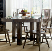 Industrial Timber-beam Circular Dining Table Solid Wood Rustic Primitive Style