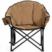 Folding Camping Moon Padded Chair With Carry Bag Cup Holder Portable Brown
