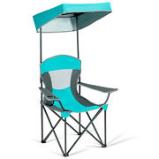 Portable Folding Camping Canopy Chair W/ Cup Holder Cooler Outdoor Turquoise