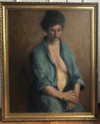 Vintage Mcm Oil Painting Semi Nude Woman In Thought Signed Ragusa Gold Frame