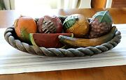 Vintage 1950s Mexican Folk Art, Large Wood Bowl With 6 Pieces Huge Wood Fruit