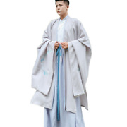 3pcs Menand039s Chinese Embroidery Ancient Costume Cosplay Hanfu Robes Dress Shirt