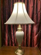 Lenox -original Shade -29andrdquo 3 Way Lamp By Quoizel Brass Ivory Gold