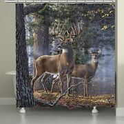 Laural Home Majestic Deer 71 X 74-inch Shower Curtain Brown