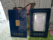 2 Lot Pamp Suisse Lady Fortuna Bars 1 Troy Oz Fine Silver And 1 Gram Fine Gold