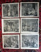 1732 Hogarth Harlots Progress Complete Set Of 6 Early State Antique Caricature