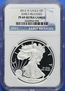 2012-w American Silver Eagle Ngc Pf69 Ultra Cameo Early Release Cr0061a/ch