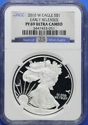 2010-w U.s. Silver Eagle Round Ngc Pf69 Ultra Cameo Early Release Cr0059a/ch