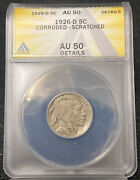 1926-d 5c Buffalo Nickel Corroded-scratched Anacs Au 50 Details
