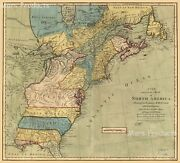 North America Vintage Colonial Map Of The 13 Colonies 24x26