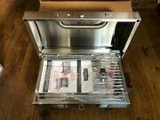 Stainless Steel Tabletop Gas Grill Propane Burner With Foldable Legs Locking Lid