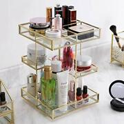 360 Degree Rotation Glass Makeup Organizer,perfume Display Case And Gold