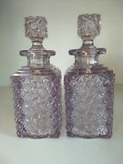 1880and039s Daisy And Button Eapg Pink Square Decanter