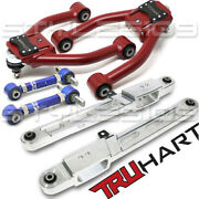 Front And Rear Camber + Polished Lower Control Arm Kit For 97-01 Honda Crv
