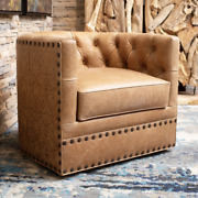 Hand-tooled Camel Leather Barrel Back Swivel Chair With Brass Nail-heads