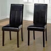 Black Leather Dining Room Chairs Set Of 2 Parson Chair Furniture High Back New
