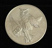 1970 Franklin Mint 1 Great Horned Owls 66.7g/2.35oz Sterling Silver Round
