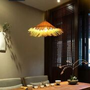 Hand-woven Bamboo Wicker Ceiling Light Rattan-woven Lamp Hat Shape Natural Color