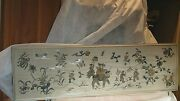 Large Antique Chinese Silk Embroidery Of Imperor And Foo-lion,framed W/glass