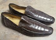 👨dolce And Gabbana Crocodile Suede Loafer Shoes Milano Purple Brown 44 /us 11