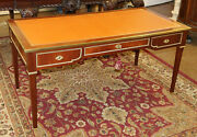 Great Leather Top French Style Brass Mounted Bureau Plat Desk