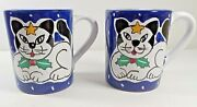 Deruta Italy Ceramic Hand Painted Black And White Cat Coffee Mugs Star And Holly 2