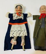 2 Antique Wooden Hand Carved Puppets Early 1900s Folk Art  Judy