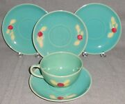 5 Pc Coors Pottery Green Rosebud Pattern One Cup - Four Saucers Colorado