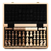 Aanda 15 Wooden Chess And Checkers Set / Folding Board / 3 King Height German / And