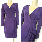 Vintage 80s Stanley Platos Dress Size Small Midi Wrap Cocktail Party Martin Ross