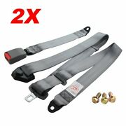 2kits 3-point-fixed Cars Auto 3 Point Harness Safety Seatbelt Grey Replacement