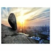 Buildings And Crag On Rock Panorama - Landscape Glossy Metal