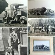 Photo Antique Snapshot Tractor Latil / Harvest After Guerre/farmers