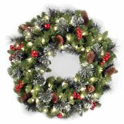Holiday/christmas Decorated Wreath 24 Inch Battery Operated Led White Lights