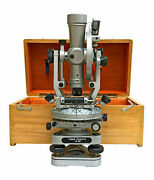 Transit Alidade Surveying Instrument 20 Seconds Brass Theodolite With Wood Box.